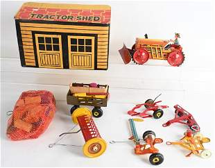 MARX TRACTOR SHED w/ WINDUP TRACTOR & ACCESSORIES