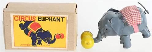 JAPAN TIN WINDUP CIRCUS ELEPHANT w/ BOX