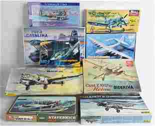 8- VINTAGE MILITARY AIRPLANE MODEL KITS w/ BOXES