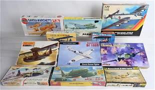 9- VINTAGE MILITARY AIRPLANE MODEL KITS w/ BOXES
