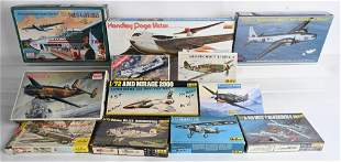 12- VINTAGE MILITARY AIRPLANE MODEL KITS w/ BOXES