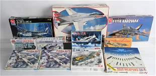 11- VINTAGE MILITARY AIRPLANE MODEL KITS w/ BOXES