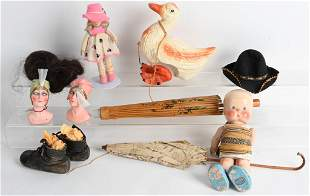 VINTAGE DOLL, TOY and ACCESSORY LOT