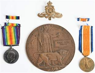 WW1 NAMED MEDAL SET TO BRITISH ROYAL ARTILLERY WWI