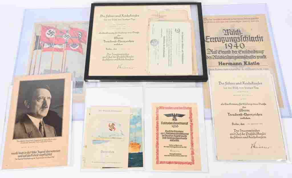 WWII NAZI GERMAN DOCUMENT LOT HJ BDM NSDAP WW2