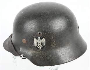 WWII NAZI GERMAN M35 DD HEER HELMET W LINER WW2