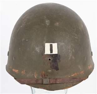 WW2 US M1 COMBAT HELMET LINER PAINTED CAPTAIN RANK