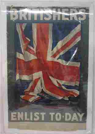 WW1 BRITISHERS ENLIST TO-DAY GUY LIPSCOMBE WWI