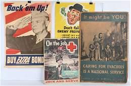 WWII US PROPAGANDA ANTI AXIS POSTER LOT OF 4 WW2