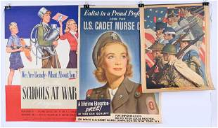 WWII US ARMY PROPAGANDA POSTER LOT US CADET