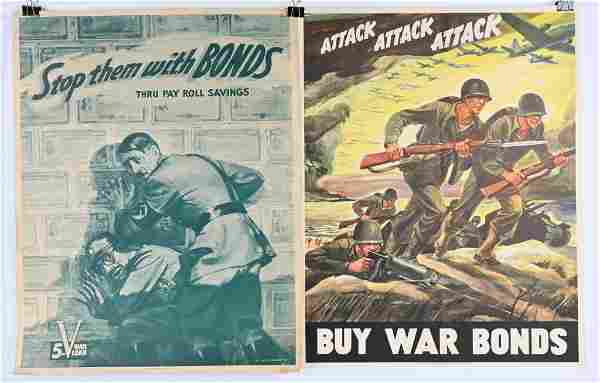 WWII ANTI AXIS POSTER LOT ATTACK ATTACK ATTACK WW2