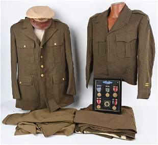 WWII US 1st ARMY UNIFORM + MEDALS GROUPING WW2