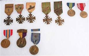 WWI & WWII MEDAL LOT CROIX DE GUERRE STATE SERVICE