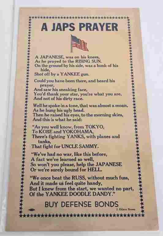 WWII ANTI JAPANESE PRAYER POSTER A JAPS PRAYER WW2