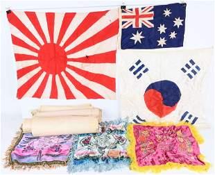 WWII US KOREAN JAPANESE LOT FLAGS MAPS PLUS WW2