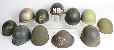 WWII - VIETNAM M1 HELMET LOT W LINERS MP WW2