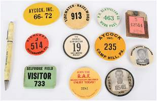 WWII FACTORY PRODUCTION ID BADGE LOT W AAF PENCIL