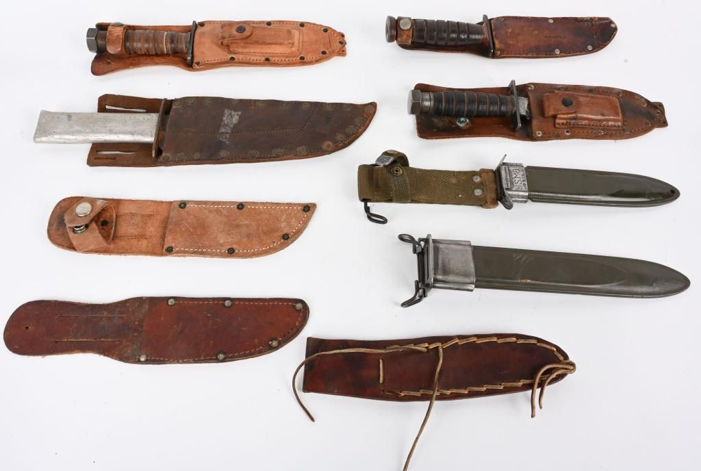 WWII US FIGHTING KNIFE LOT W/ SCABBARDS WW2