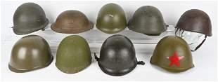WWII & POST WAR MILITARY HELMET LOT OF 9 WW2
