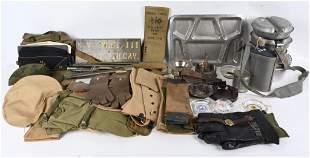 LARGE FIELD GEAR LOT WWII US ARMY & KOREAN WAR WW2