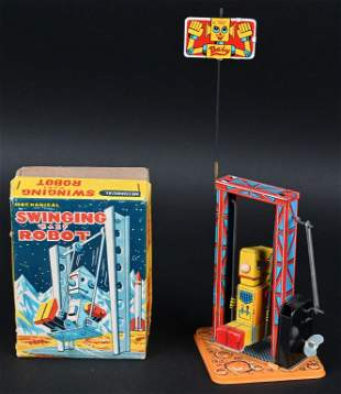 YONE TIN WINDUP SWINGING BABY ROBOT w/ BOX