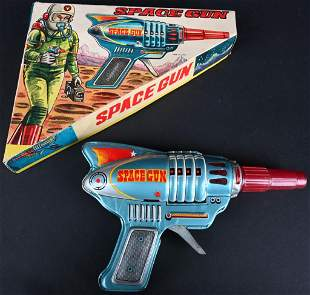 JAPAN TIN FRICTION SPACE GUN w/ BOX