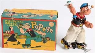 LINEMAR TIN WINDUP POPEYE ROLLER SKATER w/ BOX