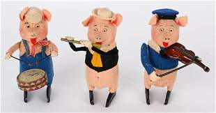 SCHUCO WINDUP WALT DISNEY 3 LITTLE PIGS SET