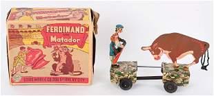 MARX WINDUP FERDINAND BULL & MATADOR w/ BOX