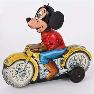 LINEMAR TIN FRICTION MICKEY MOUSE MOTORCYCLE