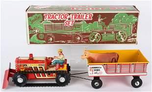 MARX TIN WINDUP SPARKLING TRACTOR & TRAILER SET