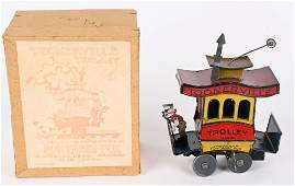NIFTY TIN WINDUP TOONERVILLE TROLLEY w/ BOX