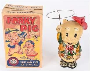 MARX TIN WINDUP PORKY PIG COWBOY w/ BOX