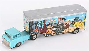 LINEMAR TIN FRICTION FLINTSTONE'S TRACTOR TRAILER