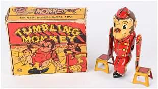 MARX TIN WINDUP TUMBLING MONKEY w/ BOX