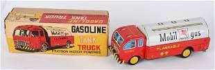 JAPAN TIN FRICTION MOBIL GASOLINE TRUCK w/ BOX