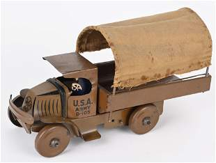 MARX 1920'S TIN WINDUP MACK ARMY TRUCK