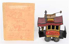 NIFTY TIN WINDUP TOONERVILLE TROLLEY w/ BOX TOP