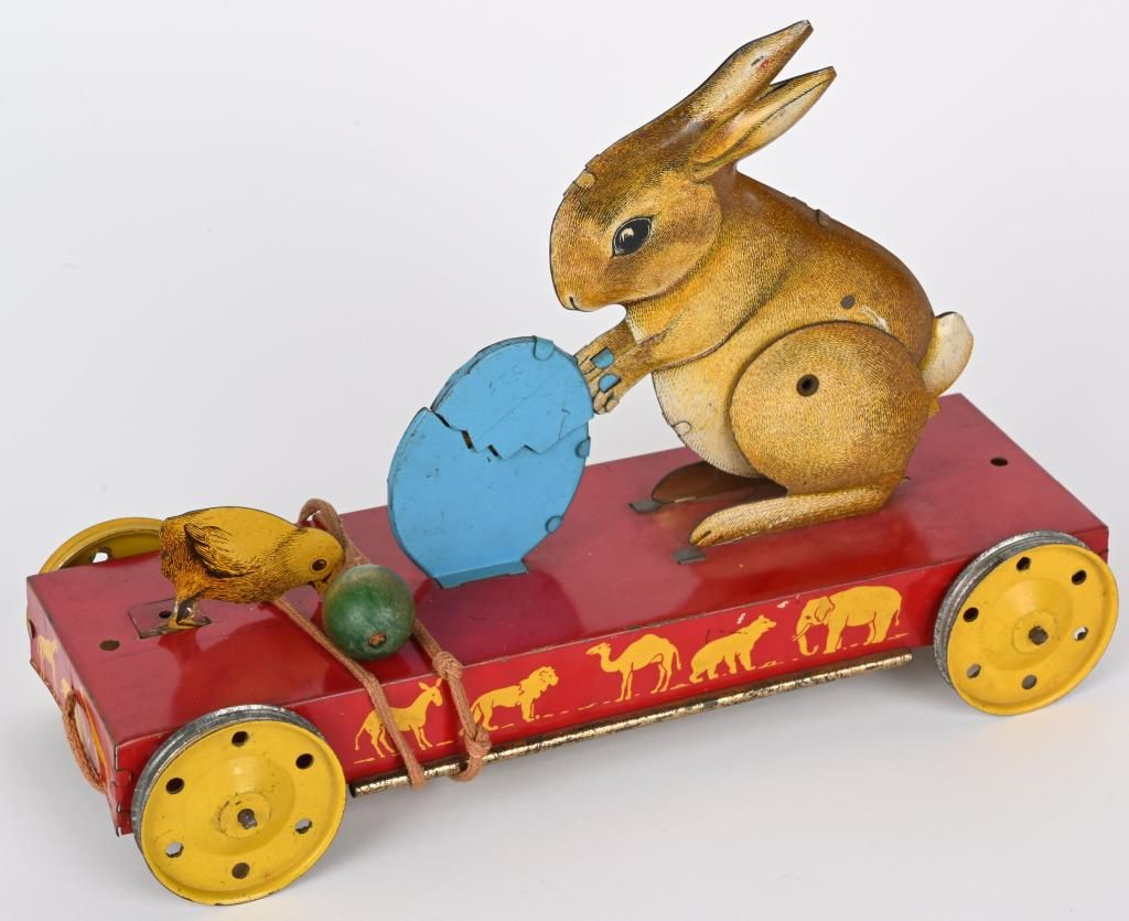 TIN RABBIT & CHICKS EASTER PULL TOY