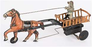 GERMAN TIN WINDUP HORSE PULLING DOG CART