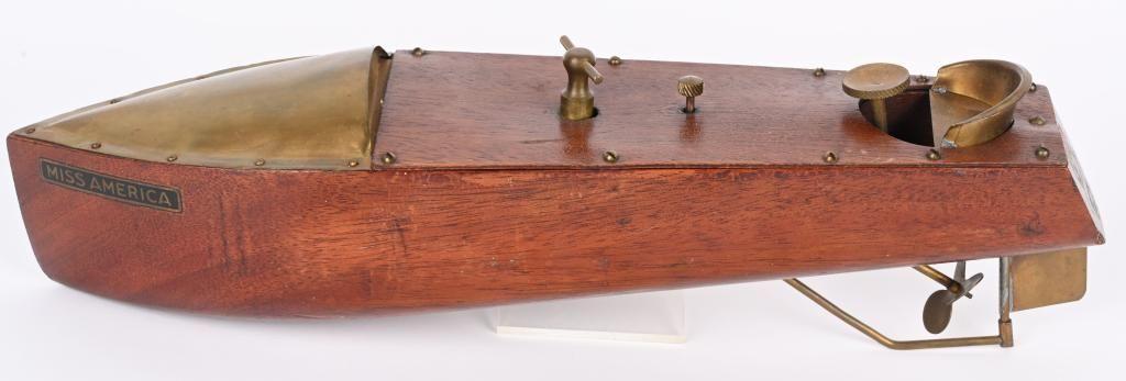MENGEL 1920'S WOOD CLOCKWORK MISS AMERICAN BOAT