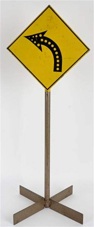 VINTAGE PEDAL CAR ALL METAL CURVE ROAD SIGN