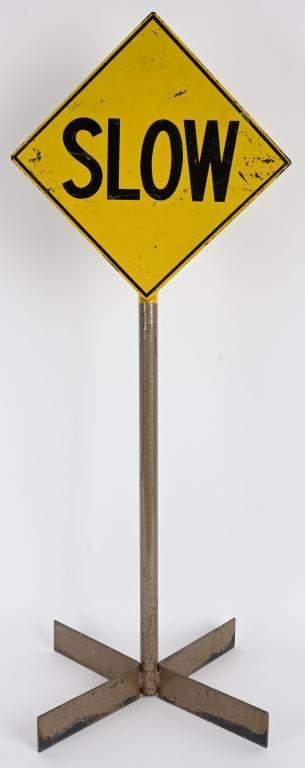 VINTAGE PEDAL CAR ALL METAL SLOW ROAD SIGN