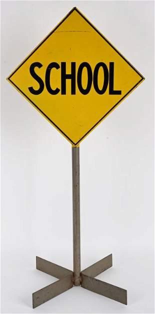 VINTAGE PEDAL CAR ALL METAL SCHOOL ROAD SIGN