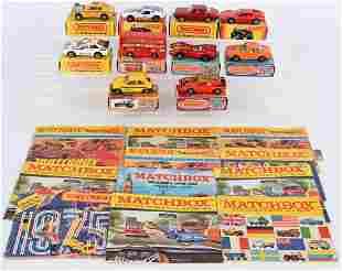 10- VINTAGE MATCHBOX CARS w/ BOXES & CATALOGS