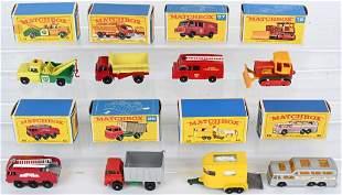 8- LESNEY MATCHBOX CARS & TRUCKS w/ BOXES
