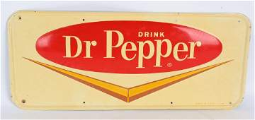 DR. PEPPER 1960's TIN EMBOSSED ADVERTISING SIGN