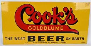 COOK'S GOLDBLUME BEER TIN SIGN