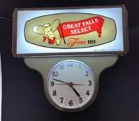 GREAT FALLS BEER LIGHTUP CLOCK SIGN
