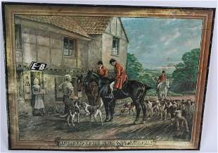 """E&B BEER """"AT THE END OF THE HUNT"""" TIN LITHO SIGN"""